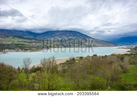 Lake Serre-Poncon (Lac de Serre-Poncon) is a lake in southeast France; it is one of the largest artificial lakes in western Europe