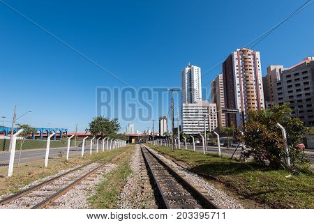 Curitiba City View With a Railway Towards the Center