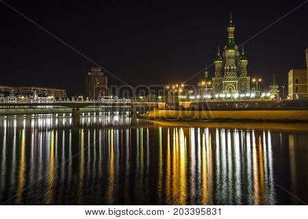 Yoshkar Ola city, Mari El, Russia. The night quay of Yoshkar Ola.