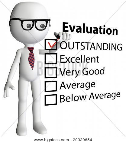Cartoon teacher or human resources manager check OUTSTANDING evaluation form report card