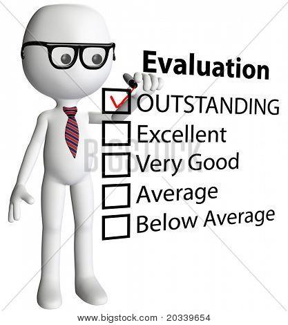 Cartoon-Lehrer oder Human Resources Manager Prüfung hervorragende Bewertung Form Schulzeugnis