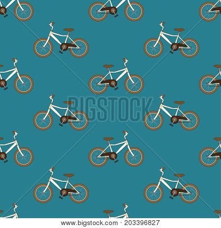 Vintage Brown Bicycle Seamless on Blue Teal Background. Vector Illustration.