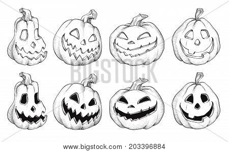 Cartoon Vector Illustration of Black and White Halloween pumpkins. Set for Coloring Book or Page