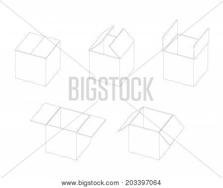 Box open isometric sequence animation sprite. Stroke vector illustration poster