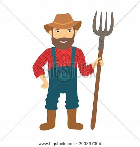 Funny farmer character with a pitchfork. Isolated vector illustration.