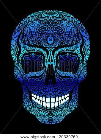 Tattoo skull with blue eyes, black and white illustration on white background, Day of the dead symbol.