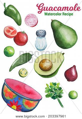 Guacamole ingredients handdrawn illustration. Vegetables and kitchenware by watercolor isolated on white background. Traditional mexican food. Summer season avocado salad. Avocado guacamole cooking