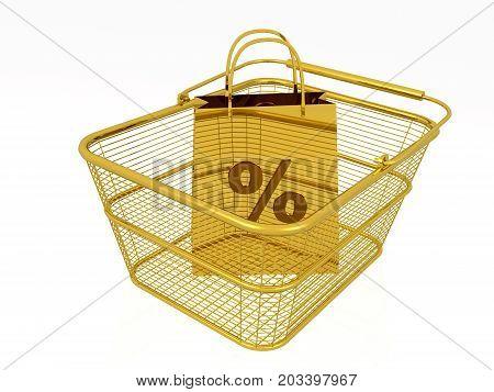 Gold shopping bag in the basket white background 3D illustration.