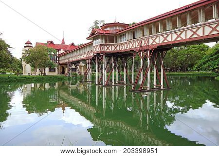 Reflections of the impressive architecture on the pond of Sanam Chan Palace, Nakhon Pathom province, Thailand