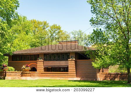 OAK PARK IL - MAY 14: Heurtley house by architect Frank Lloyd Wright in Oak Park Illinois on May 14 2017