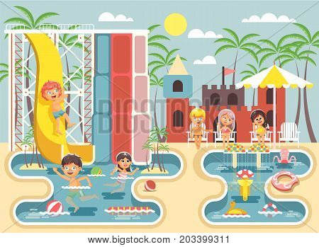 Stock vector illustration cartoon characters children, boys and girls frolicking or resting water park, water attractions, riding water slide swim pool, sit on deckchairs under sun umbrella flat style