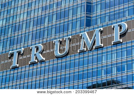 CHICAGO - MAY 12: Sign on Trump Tower in Chicago on May 12 2017