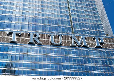CHICAGO - MAY 12: Trump sign on Trump Tower in downtown Chicago on May 12 2017