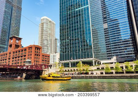 CHICAGO - MAY 12: Chicago Water Taxi on the Chicago River in downtown Chicago on May 12 2017
