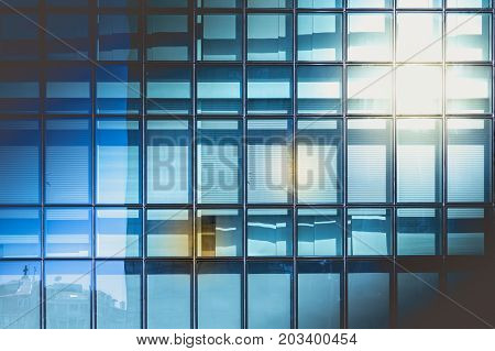 Modern Glass Wall On An Office Building