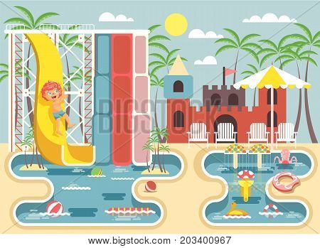 Stock vector illustration cartoon character child redhead boy riding water slide falling in swimming pool frolicking or resting aqua park, water attractions, deckchairs under sun umbrella flat style