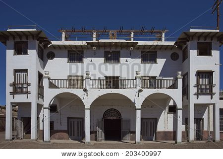 Chacabuco, Antofagasta Region, Chile - August 19, 2017: Theatre in the derelict nitrate mining town of Chacabuco in the Atacama Desert of northern Chile