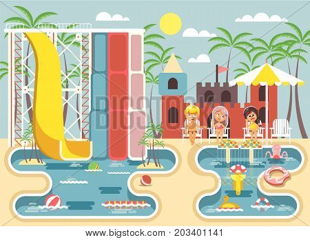 Stock vector illustration cartoon characters children boy and girls sitting deckchairs under sun umbrella near swimming pool water slide, frolicking, resting in aqua park, water attractions flat style