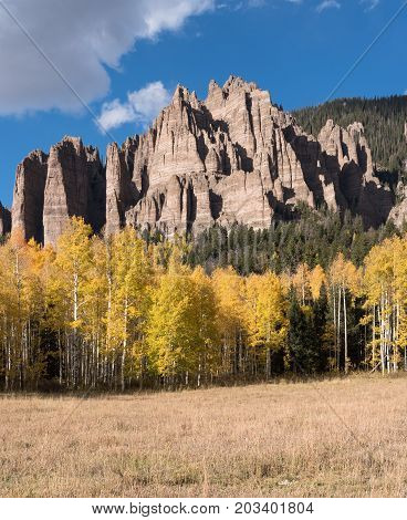 High Mesa Pinnacles in Cimarron Valley located in Gunnison National Forest.