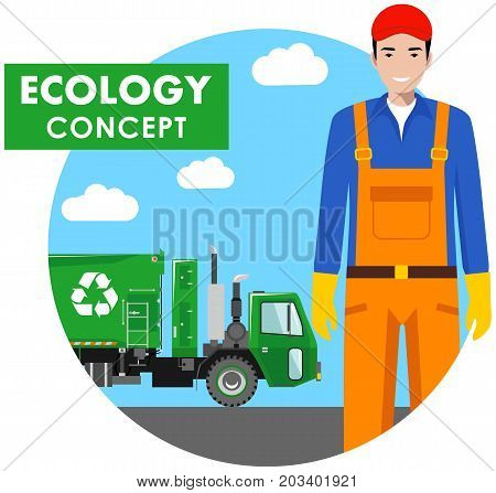 Detailed illustration of garbage collector and garbage truck on blue background in flat style.