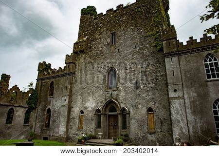 COUNTY OFFALY, IRELAND - AUGUST 23, 2017: View of Leap castle is one of the most haunted castles in Ireland