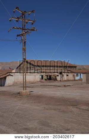 Pedro de Valdivia, Antofagasta Region, Chile - August 19, 2017: Derelict nitrate mining town of Pedro de Valdivia in the Atacama Desert of northern Chile