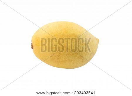 Yellow mango isolated on white background. Ripe golden mango studio photo for food package design. Juicy mango closeup. Healthy natural dessert. Sweet tropical fruit. Exotic fruit snack. Whole mango