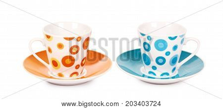 Color Cup And Saucer Isolated On White Background.