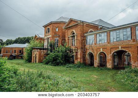 Abandoned and overgrown  former Nechaev's mansion in Polibino village in Lipetsk region