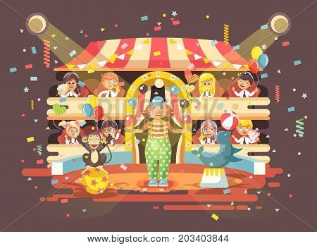 Stock vector illustration cartoon characters children, schoolboy, schoolgirl, boys and girls watching performance in interior of circus, show clown juggles on arena, perform trained animals flat style