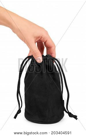 Black Textile Sack In Hand Isolated On White Background