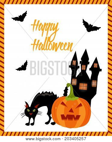 Halloween card with cat, ghost house, bats and pumkin