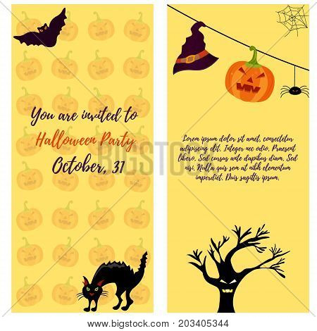 Halloween invitation card with cat, ghost house, pumpkin, scare tree and bat