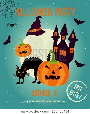 Halloween night background with creepy house, cat, full moon, trees and pumpkin. Invitation template