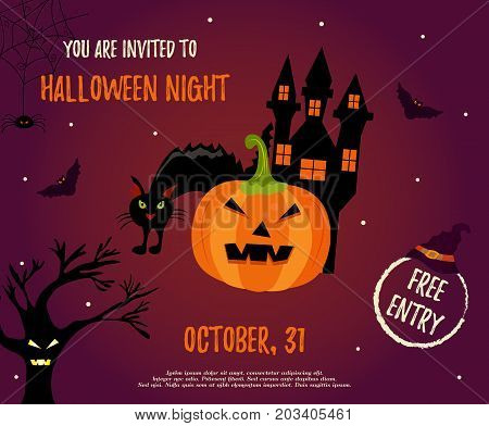 Halloween night background with creepy house, cat, trees and pumpkin. Invitation template