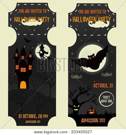 Ticket Halloween Party. Invitation template. Halloween background with creepy house, full moon, witch, scare tree, pumkin and big bat