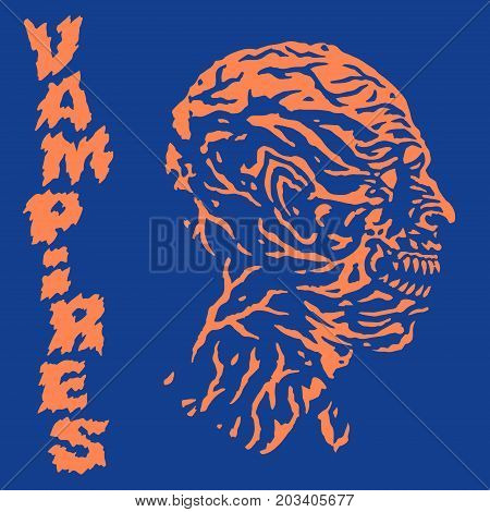 The head of the vampire monster. Vector illustration. Genre of horror. Scary character face.