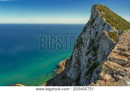 The Rock of Gibraltar seen from the top of the mountain.