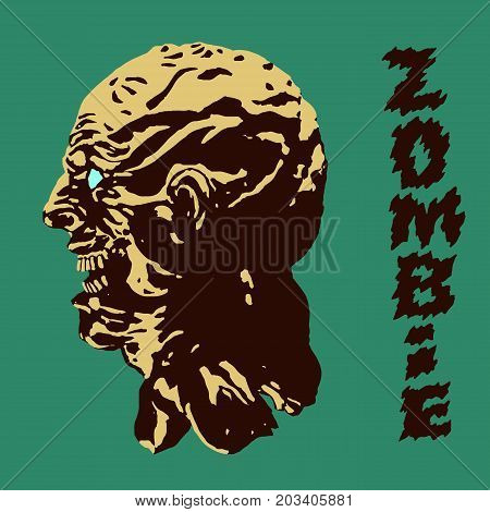 The terrible head of the zombie monster. Vector illustration. Genre of horror. Scary monster character profile.
