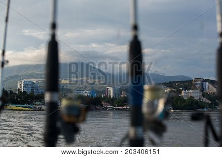 Sea Fishing, Fishing Rods On A Boat
