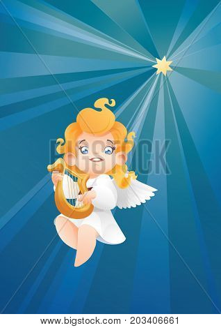 Christmas background design with harpist angel musician. Happy smiling cute cartoon kid play music on harp to star flying on a night sky. Good siut for card, music collection box cover
