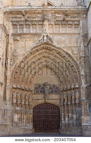 Meridional Door Of Catheral Of Palencia, Castilla Y Leon, Spain