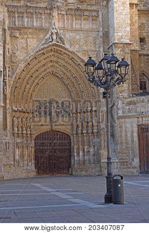Virgen O El Obispo Door Of Catheral Of Palencia, Castilla Y Leon, Spain