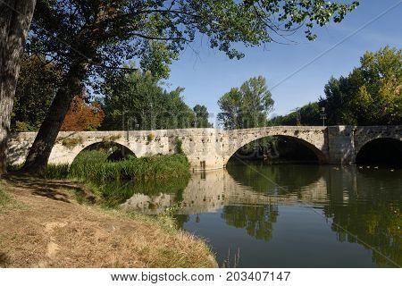 Puenctecillas Bridge In Palencia, Castilla Y Leon, Spain