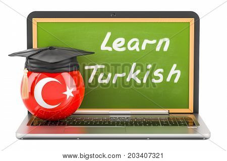 Learn Turkish concept with laptop blackboard graduation cap and flag of Turkey 3D rendering