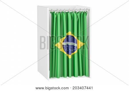 Vote in Brazil concept voting booth with Brazilian flag 3D rendering