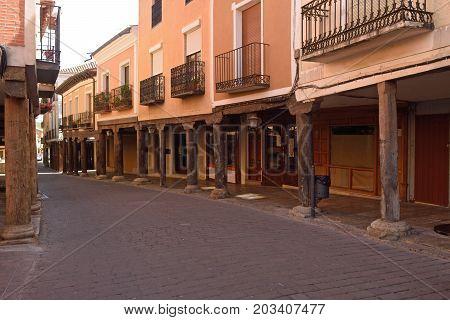 arcade of old street of Medina de Rioseco Valladolid province Castilla y Leon Spain