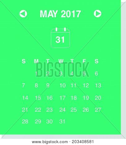 Calendar design concept May 2017..Business wall or web calendar template..Week starts from Sunday. Minimal design..Can be used in print advertising public relations infographic..Vector illustration