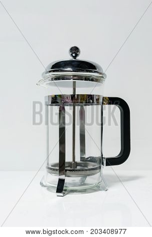 French Press Coffee Maker With Black Handle Isolated On White