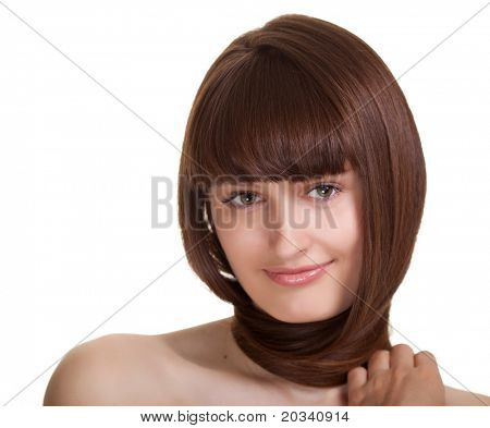 young woman with beautiful hair on white background